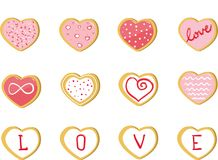 Valentine Cookies förälskelsehjärtauppsättning royaltyfri bild