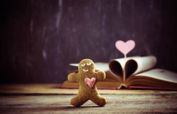 Valentine cookies – gingerbread man with heart Stock Photography
