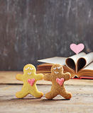Valentine cookies gingerbread man with heart Stock Photo