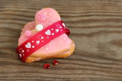 Valentine cookies. Heart shaped cookies for Valentine's Day royalty free stock photos