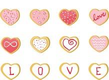 Valentine Cookies, Liebes-Herz-Satz Lizenzfreies Stockbild