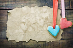 Valentine cookies and old paper with space for congratulations Stock Images