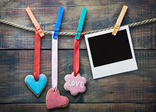 Valentine cookies and picture frame hanging Stock Images