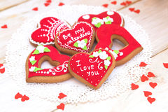 Valentine Cookies. Sweet Red Heart Valentine Cookie Stock Images