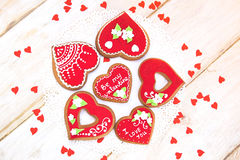 Valentine Cookies. Sweet Red Heart Valentine Cookie Royalty Free Stock Photos