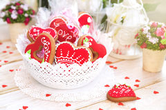 Valentine Cookies. Sweet Red Heart Valentine Cookie Royalty Free Stock Image