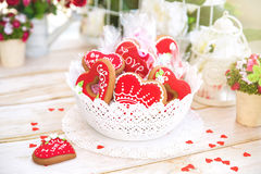 Valentine Cookies. Sweet Red Heart Valentine Cookie Royalty Free Stock Photo