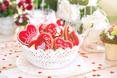 Valentine Cookies. Sweet Red Heart Valentine Cookie Royalty Free Stock Images