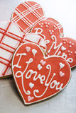 Valentine Cookies on Tray Royalty Free Stock Images