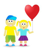 Valentine couple background. With heart balloon Royalty Free Stock Photography