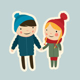 Valentine couple. On date walking flat Stock Photo