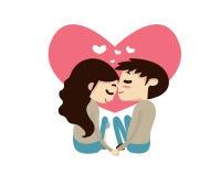 Valentine Couple Illustration romântico - deixe-nos crescer junto idosos Imagens de Stock