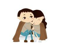 Valentine Couple Illustration romântico - noite fria Fotografia de Stock Royalty Free