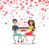 Valentine Couple with Present on Bench Vector. Valentine man and woman sitting on bench and holding gift box. Postcard decorated by red hearts, romantic day vector illustration