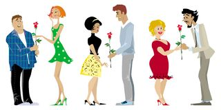 Valentine couples. Three romantic couples on Valentine Day Vector Illustration