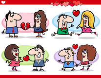 Valentine couples in love cartoon set. Cartoon Illustration of Happy Couples in Love on Valentines Day or Valentine Cards Royalty Free Stock Photos
