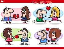 Valentine couples in love cartoon set Royalty Free Stock Photos