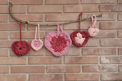 Valentine crochet decorations hearts Stock Photography