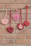 Valentine crochet decorations hearts Stock Image