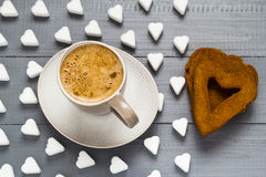 Valentine cup coffee boards sugar cubes cakes heart Royalty Free Stock Photography