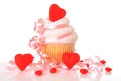 Valentine cupcake. Valentine day cupcake isolated on white Stock Photography