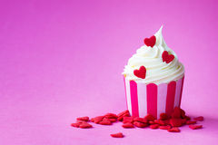Valentine cupcake. With copy space to side Stock Photo