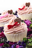 Valentine cupcake with heart and bow Stock Photo