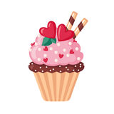 Valentine cupcake icon with hearts. Royalty Free Stock Photos