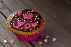 Valentine cupcake with lettering I love you Stock Image