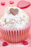 Valentine cupcake with powdered sugar Royalty Free Stock Photography