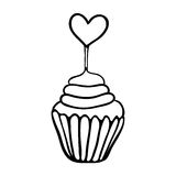 Valentine cupcake sketch with heart topper Royalty Free Stock Images