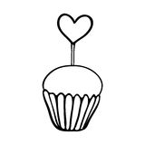 Valentine cupcake sketch with heart topper Stock Images
