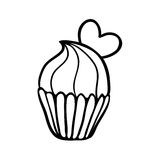 Valentine cupcake sketch with one heart Royalty Free Stock Photo