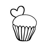 Valentine cupcake sketch with one heart Stock Photo