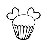 Valentine cupcake sketch with two hearts Stock Photography