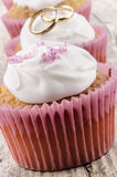 Valentine cupcake on a timber board Stock Photography