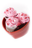 Valentine Cupcakes. Valentine's Day themed cupcakes with heart sprinkles royalty free stock photography