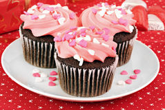 Valentine Cupcakes. Pink frosted and decorated chocolate cupcakes for Valentines Day. Selective focus on front cupcake royalty free stock photos