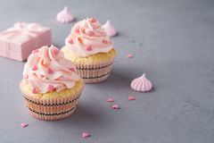 Valentine cupcakes decorated with sweet hearts and a gift box stock photos