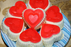 Valentine Cupcakes in the form of hearts. Stock Images