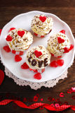 Valentine cupcakes Stock Photography