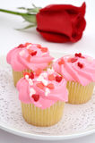 Valentine cupcakes with rose Royalty Free Stock Photos