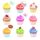 Valentine cupcakes. Set of festive Valentine cupcakes with different decorations Royalty Free Stock Image