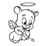 Valentine Cupid Bear Ready To Shoot His Arrow. Monochrome Vector Line Art Royalty Free Stock Images