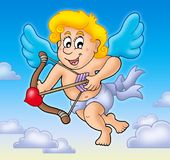 Valentine Cupid with bow on sky Stock Photo