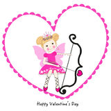 Valentine cupid with fairy greeting card Stock Image