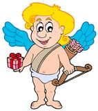 Valentine Cupid with gift Royalty Free Stock Image