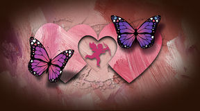 Valentine Cupid with Hearts and Butterflies Stock Photography