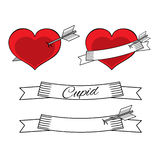 Valentine cupid love collection. Heart with arrow and ribbon, vector illustration Stock Images