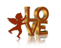 Valentine cupid and LOVE text Stock Photos